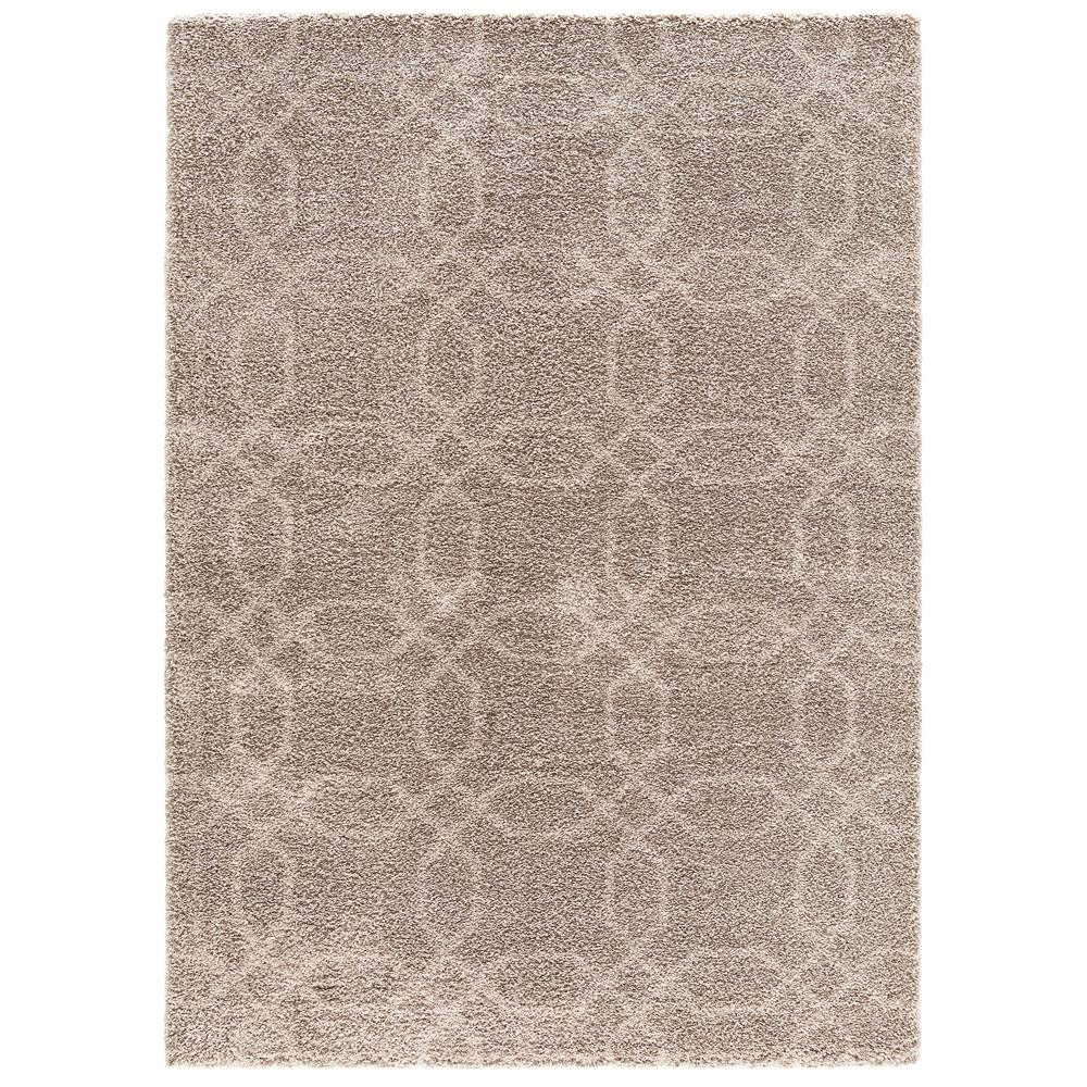 Concord Global Trading Plush Geo Beige 6 Ft. 7 In. X 9 Ft