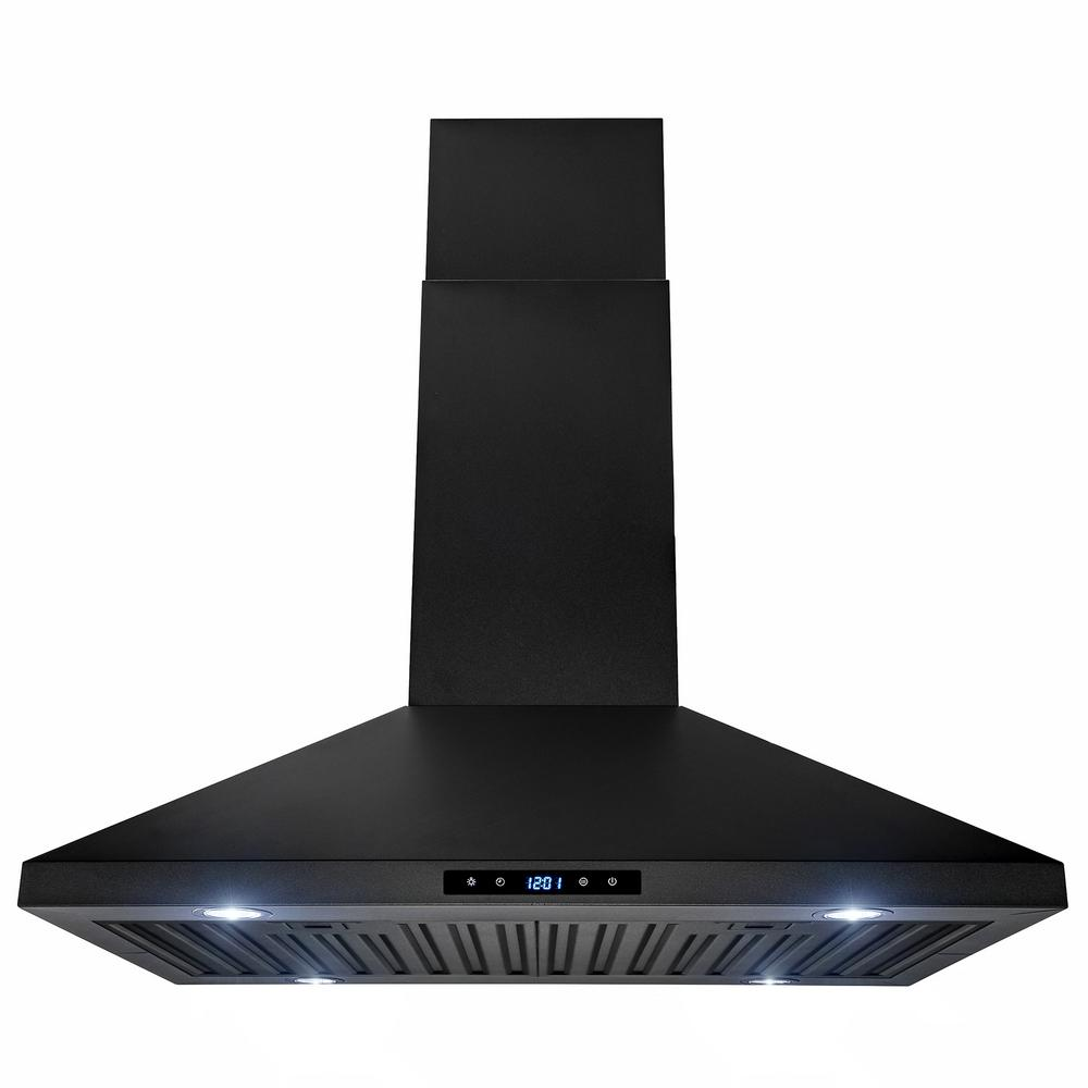 30 in. 470 CFM Kitchen Island Mount Range Hood in Black Painted Stainless Steel with Touch Control