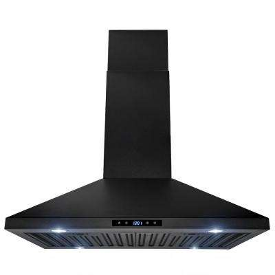 470 Cfm Kitchen Island Mount Range Hood In Black Painted Stainless Steel With