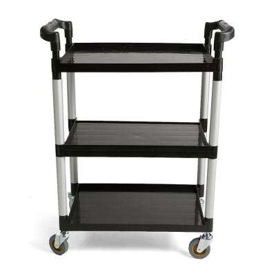 3-Tier Plastic/Metal 4-Wheeled Rolling Coffee Cart with Handles in Black