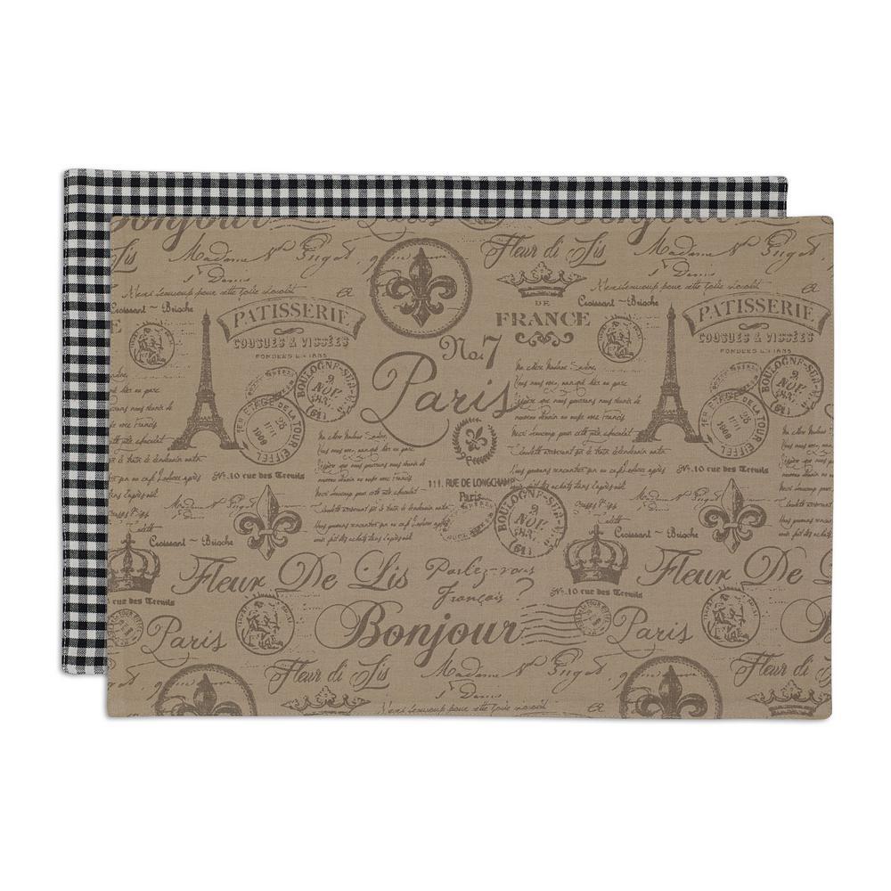 Brown French Flourish Printed Placemat (Set of 6), Black/...