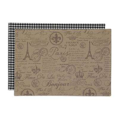 Brown French Flourish Printed Placemat (Set of 6)
