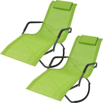 Gray Frame Folding Rocking Sling Outdoor Lounge Chair with Pillow in Green (Set of 2)