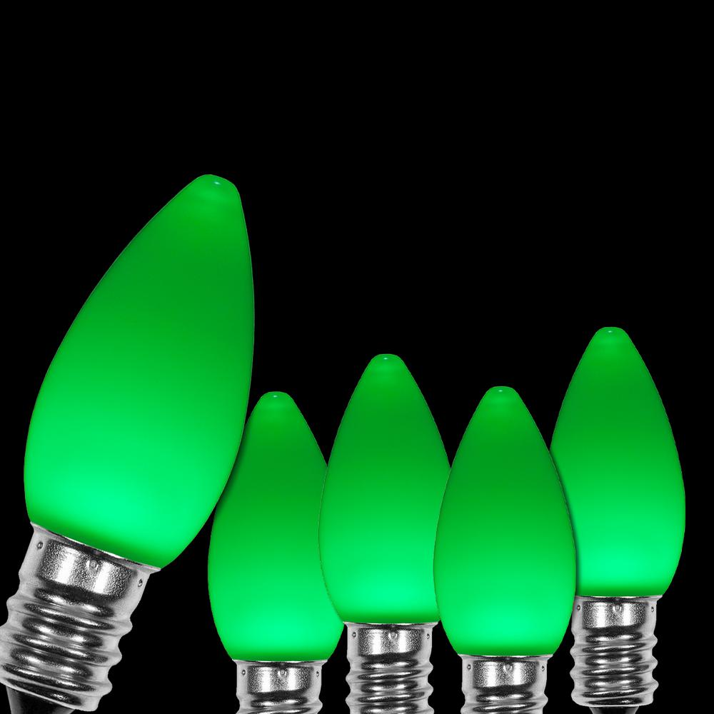 Wintergreen Lighting Opticore C7 Led Green Smooth Opaque Christmas Light Bulbs 25 Pack