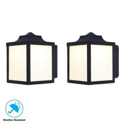 Black Outdoor Integrated LED Wall Mount Lantern (2-Pack)