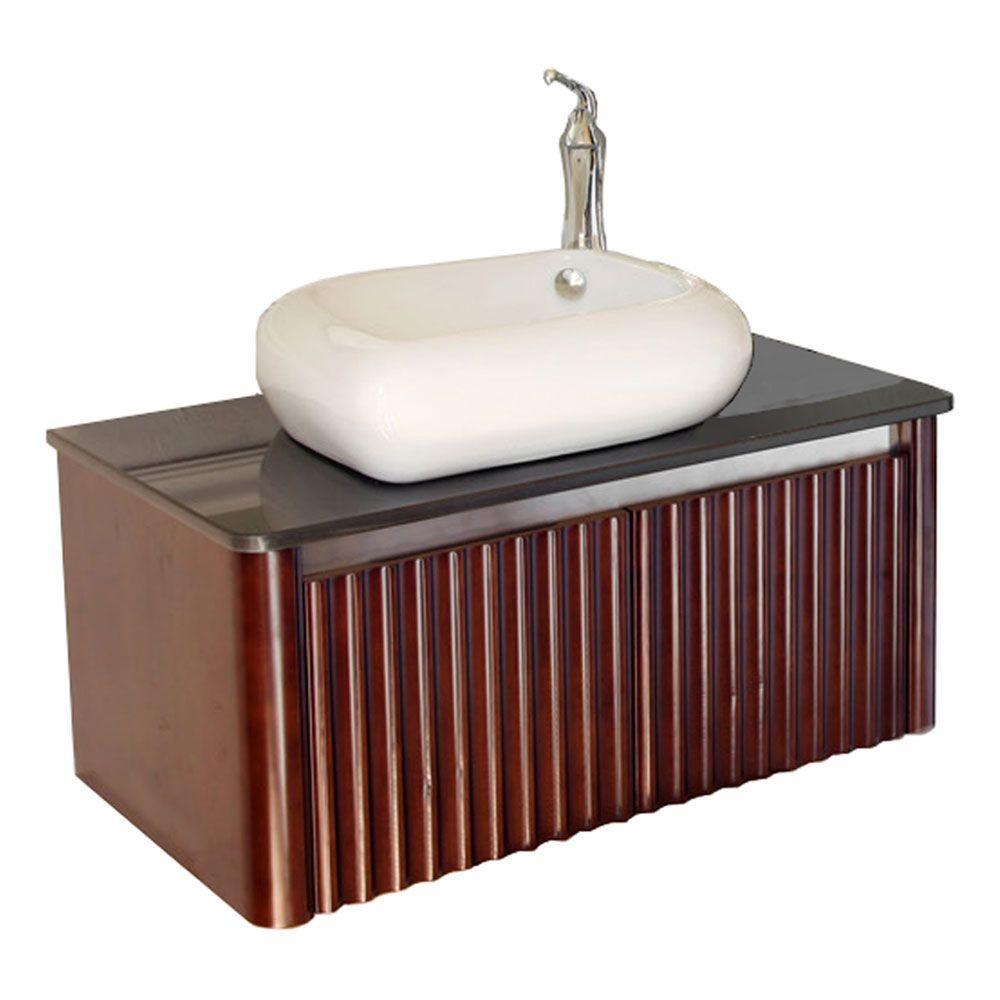 Bellaterra Home Stephenson 33 inch W Single Vanity in Walnut with Marble Vanity Top in... by Bellaterra Home