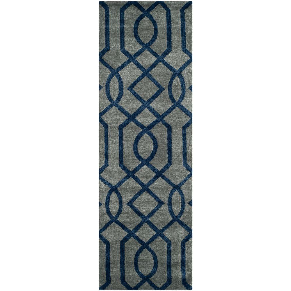 Soho Grey/Dark Blue 2 ft. 6 in. x 10 ft. Runner