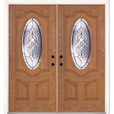 74 in. x 81.625 in. Lakewood Zinc 3/4 Oval Lite Stained Light Oak Left-Hand Inswing Fiberglass Double Prehung Front Door