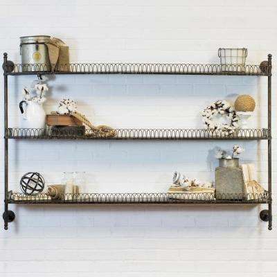63 in. W x 8 in. D Black Wall Mount Decorative Shelf