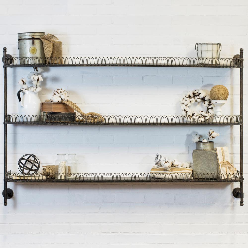 undefined 63 in. W x 8 in. D Black Wall Mount Decorative Shelf