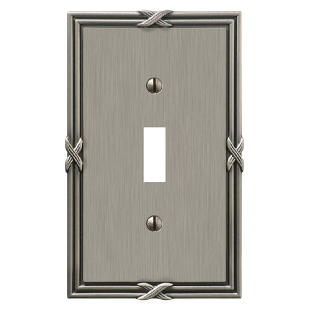 Amerelle Ribbon and Reed 1 Toggle Wall Plate - Antique Nickel  sc 1 st  The Home Depot & Amerelle Ribbon and Reed 1 Toggle Wall Plate - Antique Nickel-44TAN ...