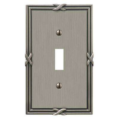 Ribbon and Reed 1 Toggle Wall Plate - Antique Nickel