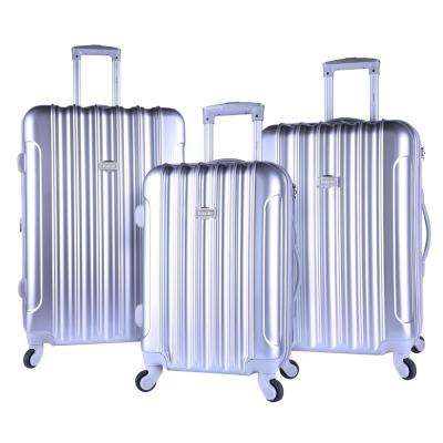 3-Piece Silver Expandable Hardside Vertical Luggage Set with Spinner Wheels