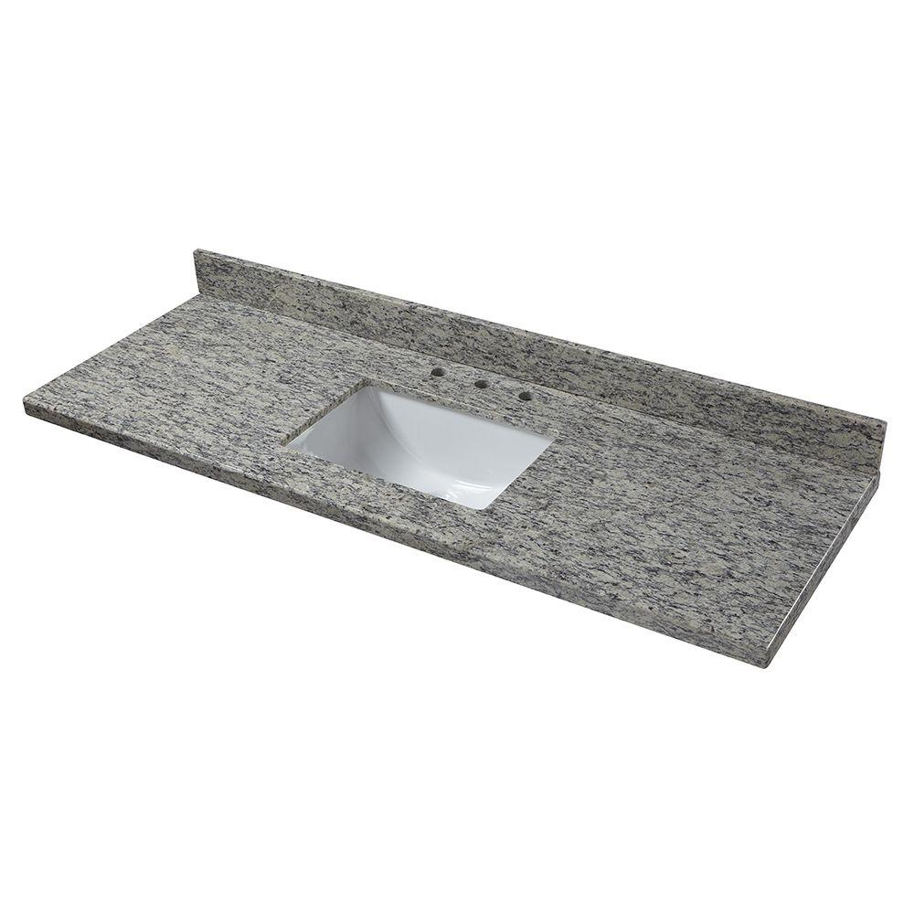 null 61 in. Granite Vanity Top in Santa Cecilia with White Basin