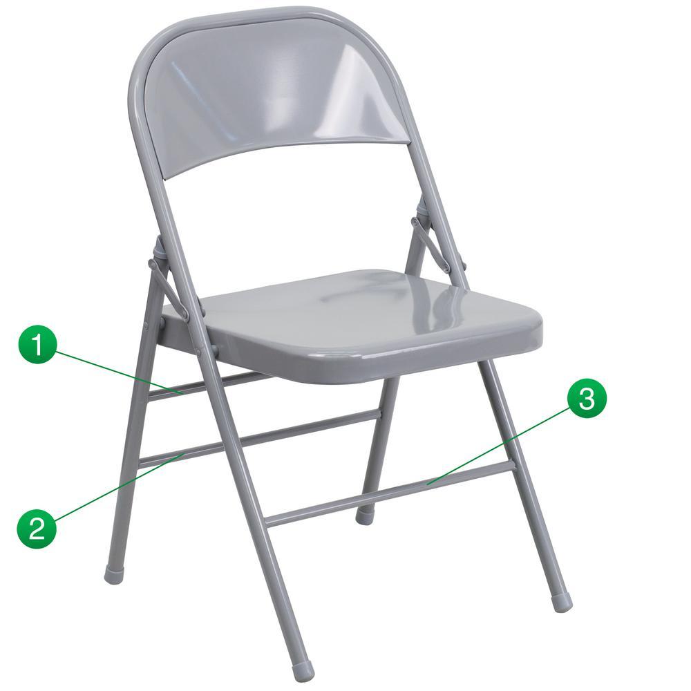 Bon Hercules Series Triple Braced U0026 Double Hinged Gray Metal Folding Chair