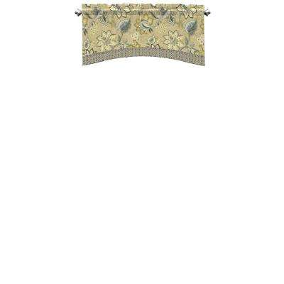 Brighton Blossom 52 in. W x 18 in. L Cotton Arched Window Valance in Flax