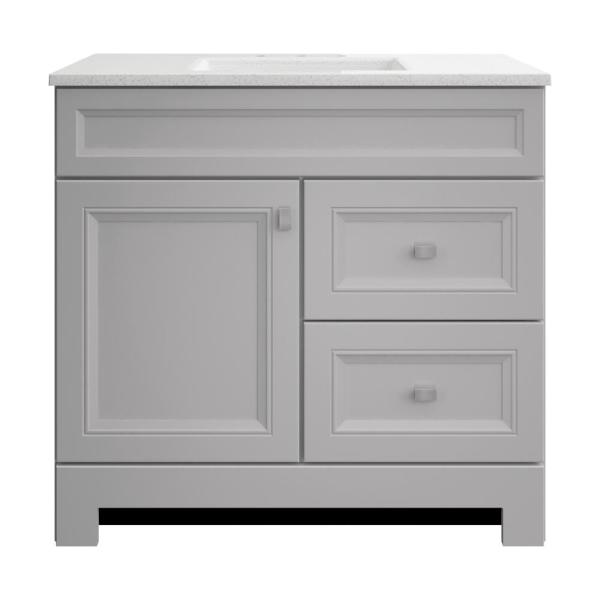 Home Decorators Collection Sedgewood 36 1 2 In W Bath Vanity In Dove Gray With Solid Surface Technology Vanity Top In Arctic With White Sink Pplnkdvr36d The Home Depot
