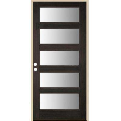 36 in. x 80 in. Contemporary Full Lite Black Stain Right-Hand/Inswing Douglas Fir Prehung Front Door
