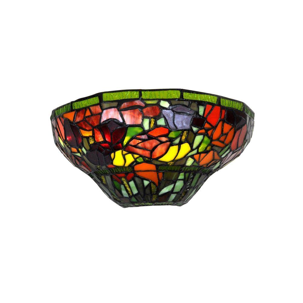 It's Exciting Lighting Stained Glass Half Moon Roses LED ...