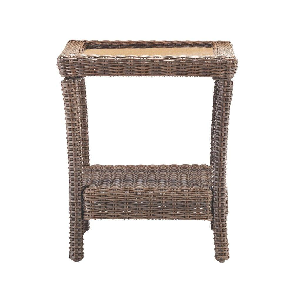 Naples brown square all weather wicker outdoor side table with glass top