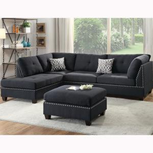 Venetian Worldwide Florence Black Sectional Sofa with ...