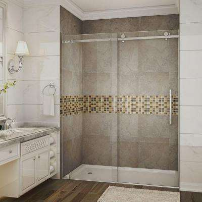 Moselle 60 in. x 75 in. Completely Frameless Sliding Shower Door in Stainless Steel with Clear Glass