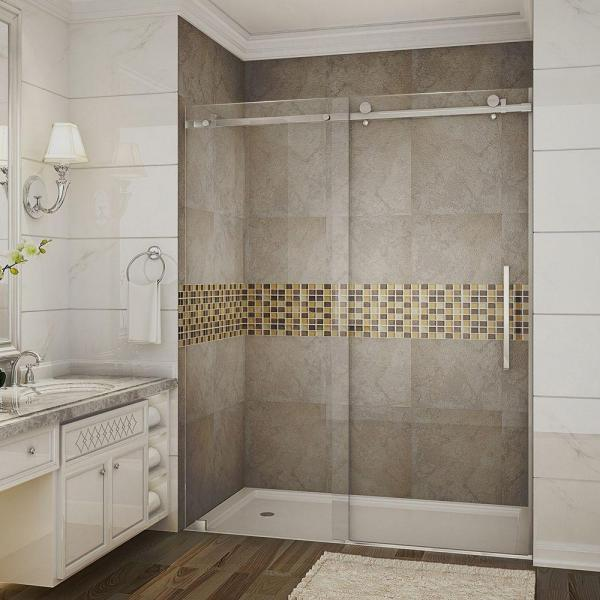 Aston Moselle 60 In X 75 In Completely Frameless Sliding Shower Door In Stainless Steel With Clear Glass Sdr976 Ss 60 10 The Home Depot