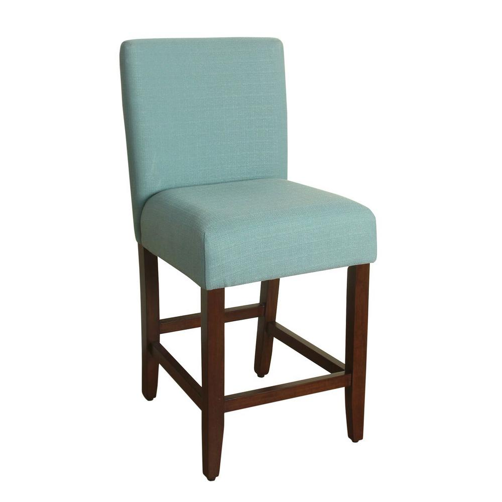 Homepop Upholstered 24 in. Aqua Textured Bar Stool