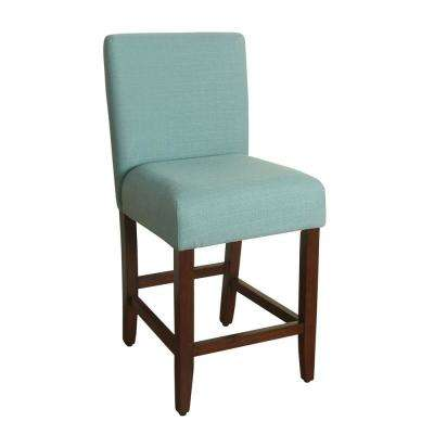 Upholstered 24 in. Aqua Textured Bar Stool