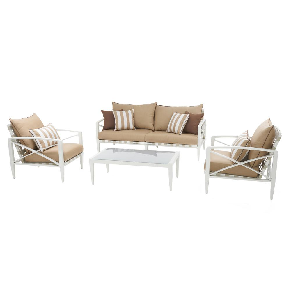 Knoxville Cream 4-Piece Aluminum Patio Seating Set with Maxim Beige Cushions