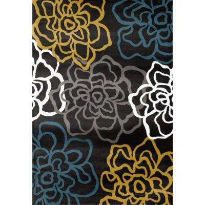 """Contemporary Modern Floral Flowers 7' 10""""x10' 2"""" Yellow Gray Area Rug"""
