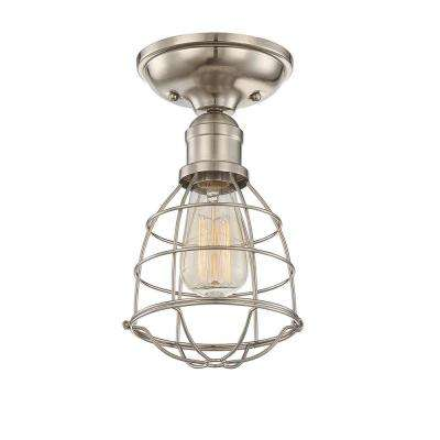 1-Light Satin Nickel Semi-Flush Mount