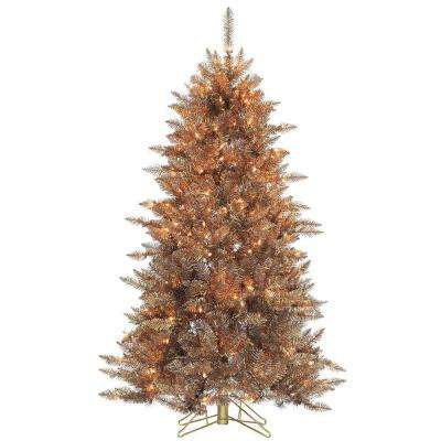 5 ft. Pre-Lit Layered Copper and Silver Frasier Fir Artificial Christmas Tree with Clear Lights