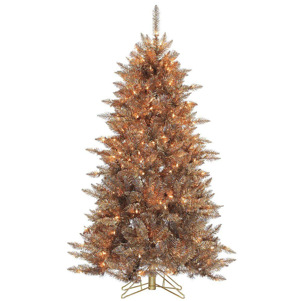 pre lit layered copper and silver frasier fir artificial christmas tree