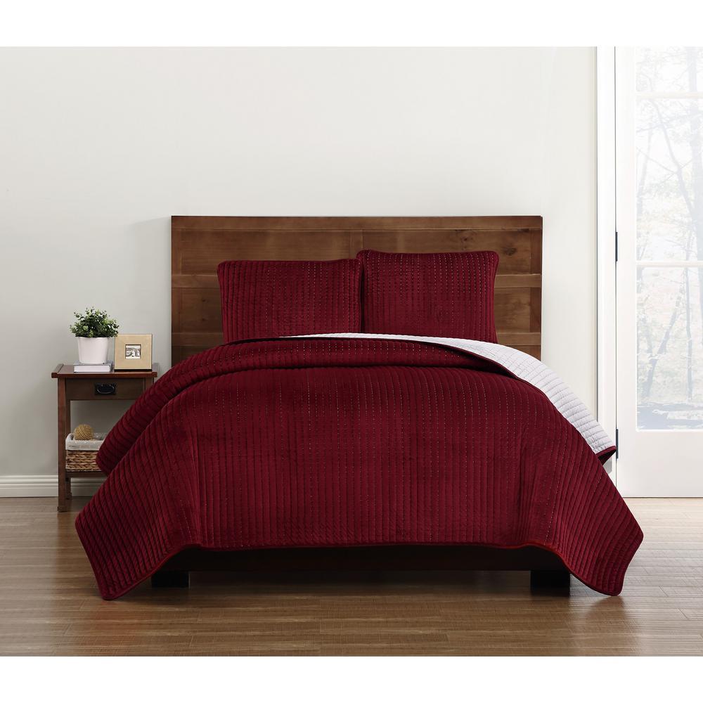 Everyday Velvet Pick Stitch Quilt Sets Red Full/Queen Quilt Set