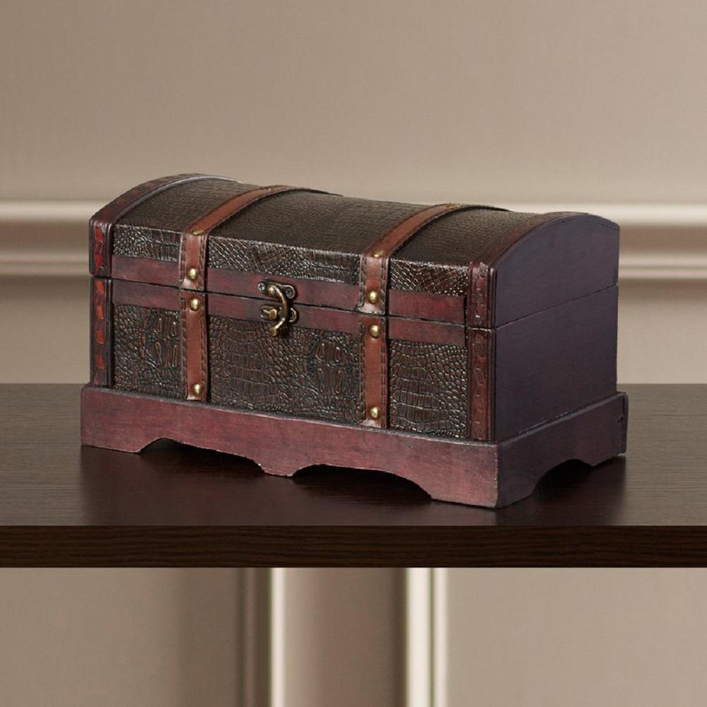 12 in. x 6.5 in. Leather Wooden Treasure Chest, Browns/Tans