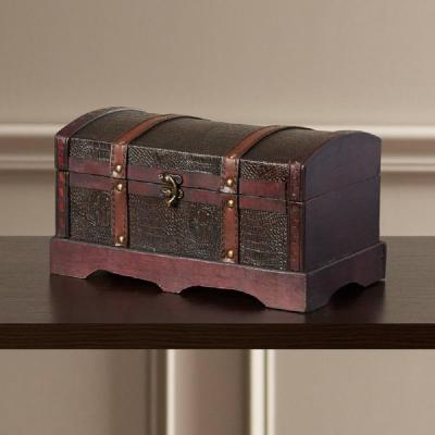 12 in. x 6.5 in. Leather Wooden Treasure Chest