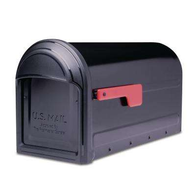 Barrington Post Mount Mailbox Black with Red Flag
