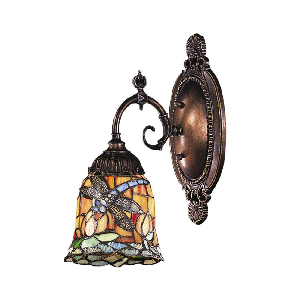 Titan Lighting 1-Light Tiffany Bronze Sconce