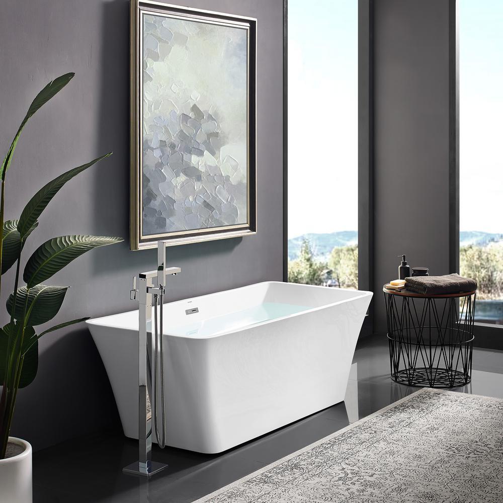 Swiss Madison St Tropez 67 in. Acrylic FlatBottom Non-Whirlpool Freestanding Rectangular Soaking Bathtub in White