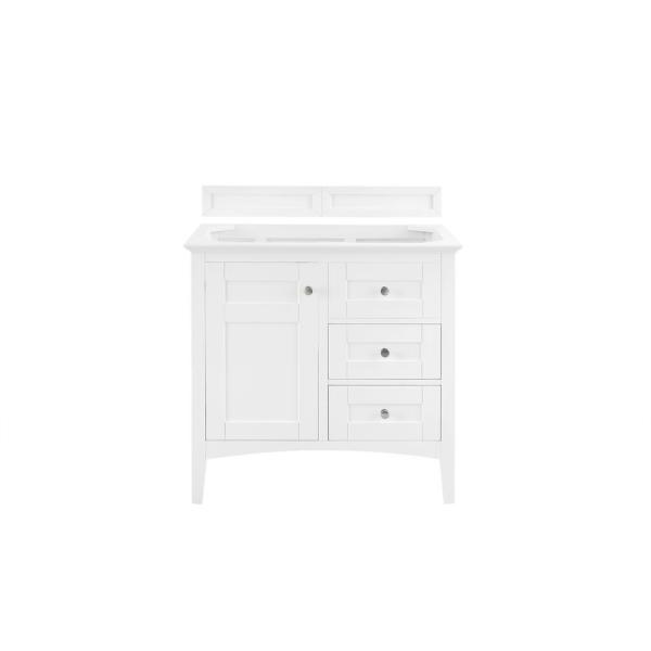 Palisades 36 in. W x 34 in. H Single Vanity Cabinet Only in Bright White with Satin Nickel Hardware