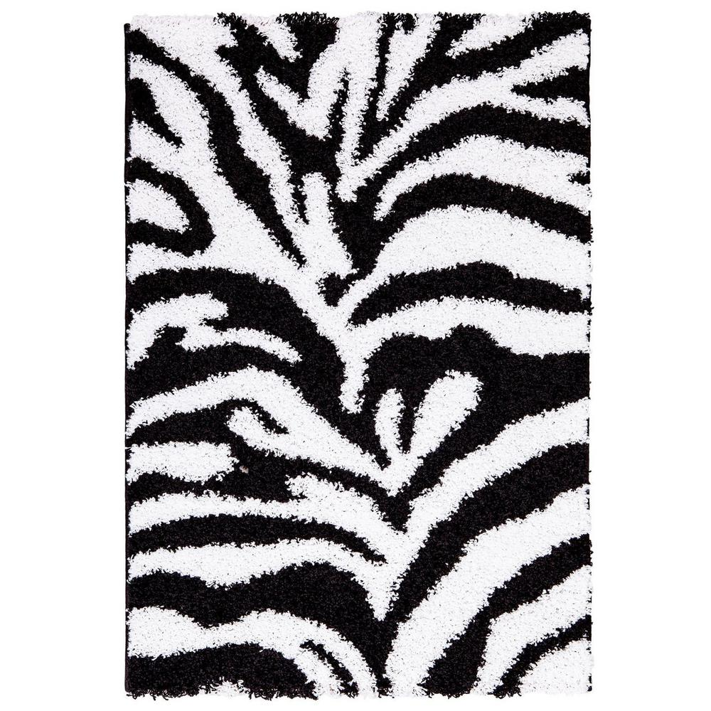 Ottomanson Ultimate Shaggy Animal Print Zebra Design White and Black 5 ft. x 7 ft. Area Rug