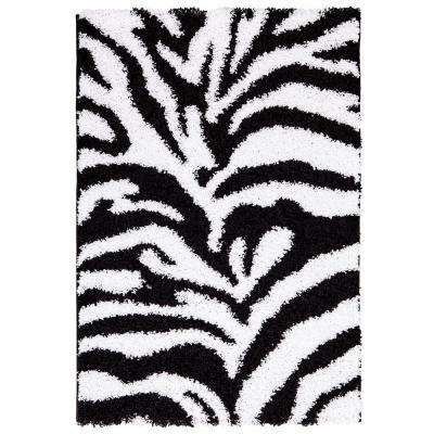 Ultimate Shaggy Animal Print Zebra Design White and Black 5 ft. x 7 ft. Area Rug
