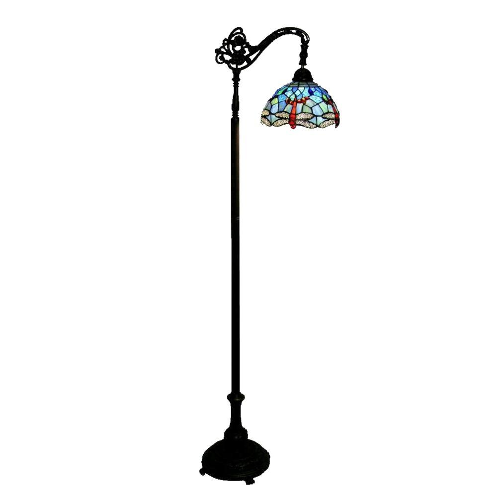 Warehouse of tiffany 62 in dragonfly 1 light reading for Pink floor reading lamp