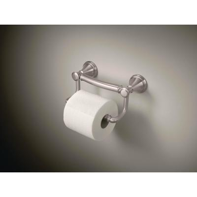 Decor Assist Traditional Toilet Paper Holder with Assist Bar in Stainless