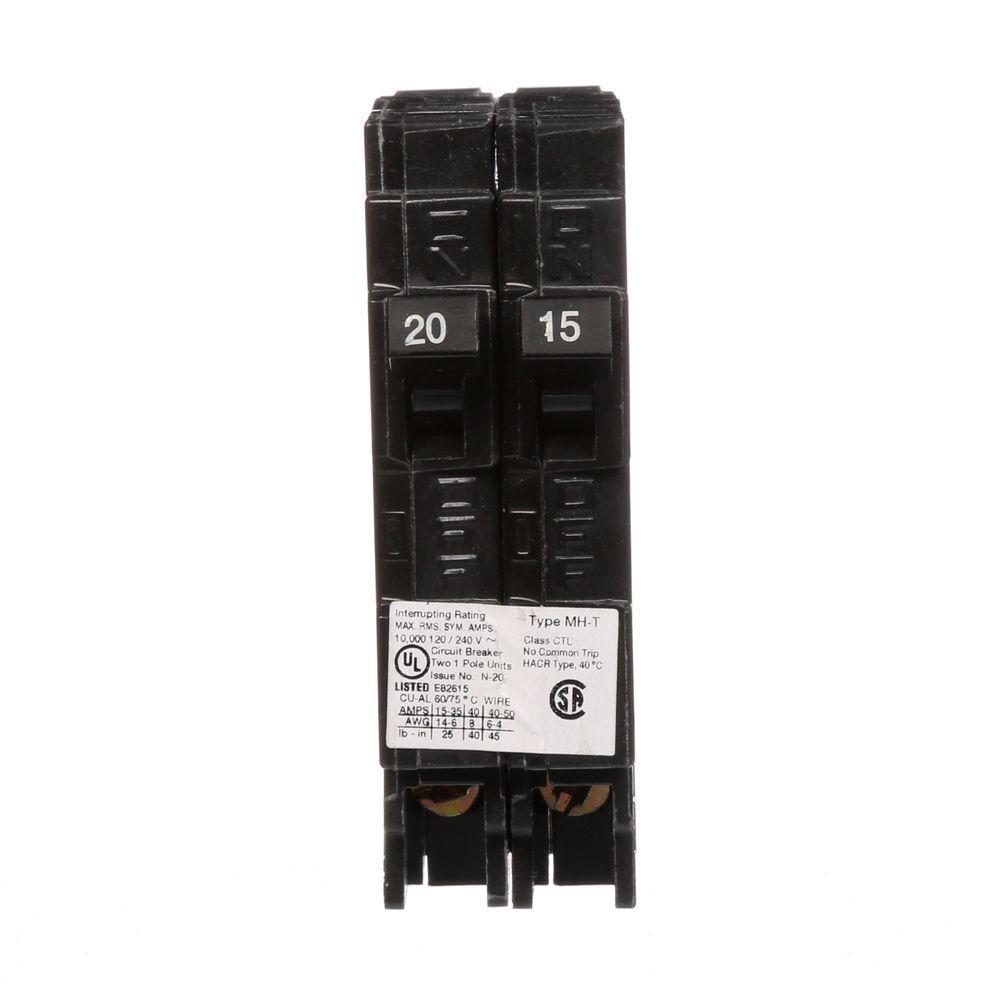15/20 Amp Single Pole Tandem Type MH-T Plug-In Circuit Breaker