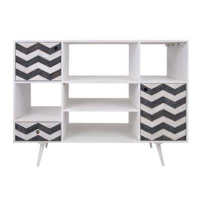 Olas Collection White And Gray Storage Cabinet