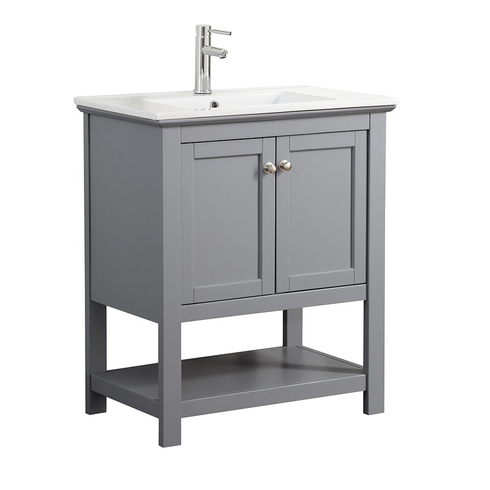 Great Fresca Bradford 30 In. W Traditional Bathroom Vanity In Gray With Ceramic Vanity  Top In