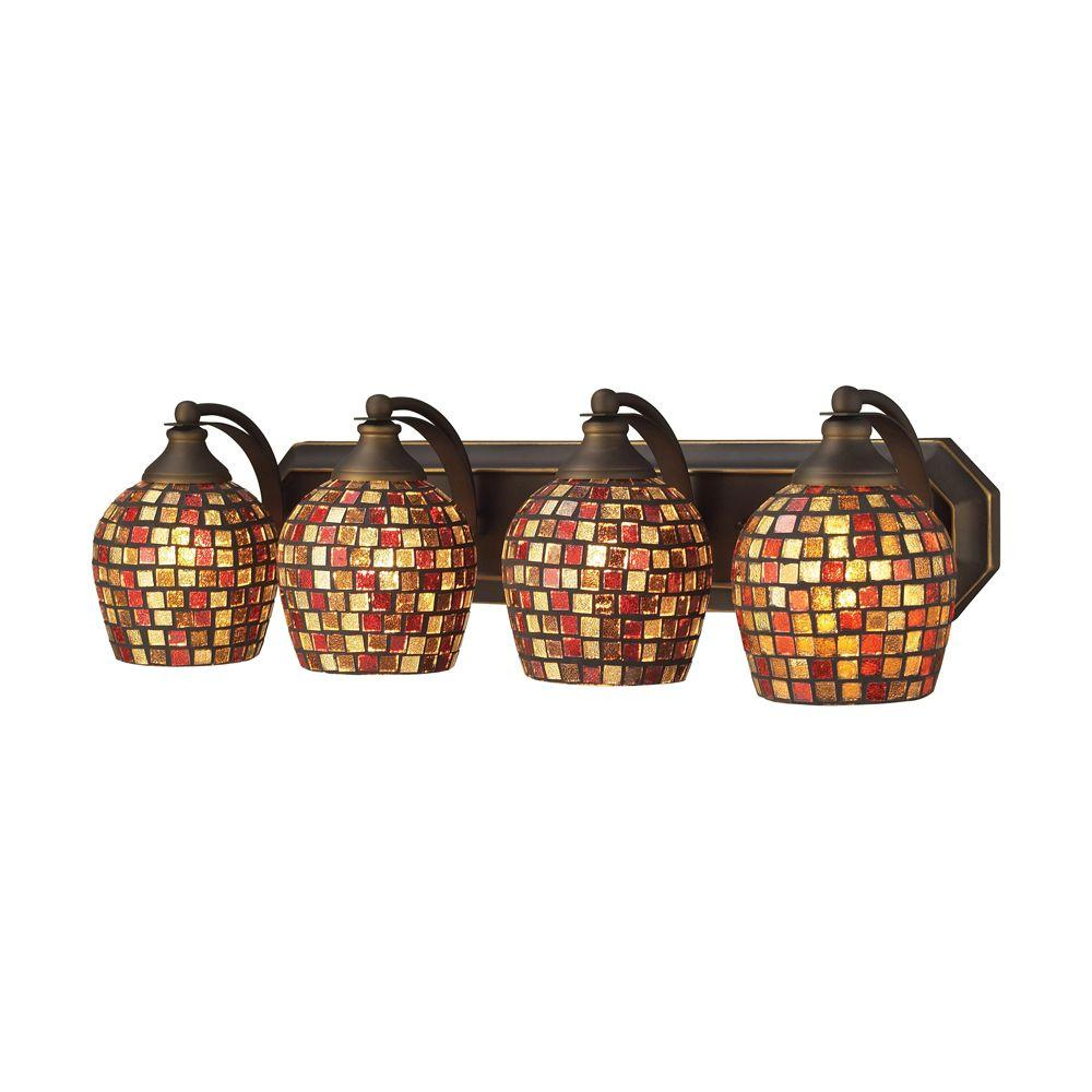 Titan Lighting 4-Light Aged Bronze Vanity Light with Multi Mosaic Glass
