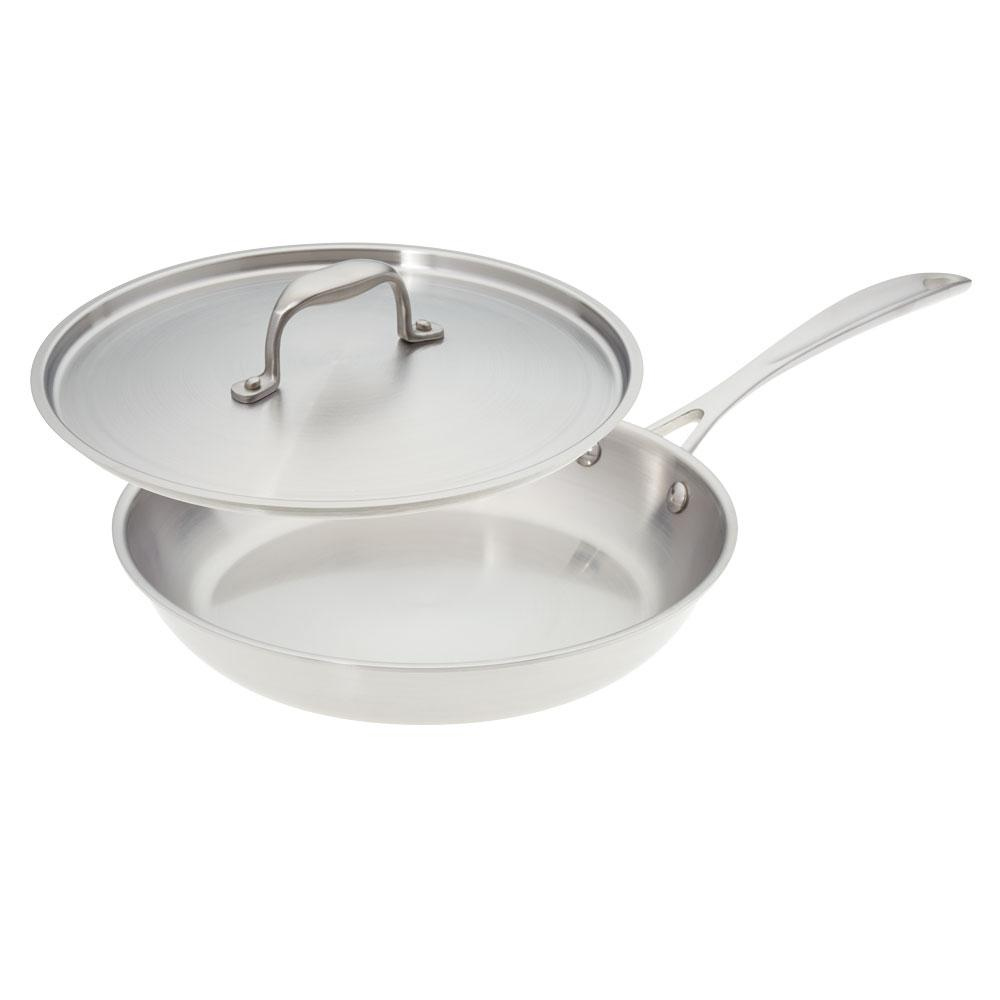 American Kitchen 10 in. Premium Stainless Steel Skillet with Cover ...